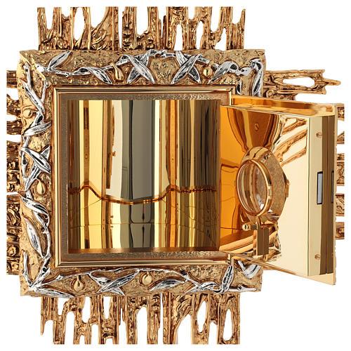 Tabernacolo da parete ottone fuso oro argento JHS 6