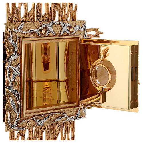 Tabernacolo da parete ottone fuso oro argento JHS 7