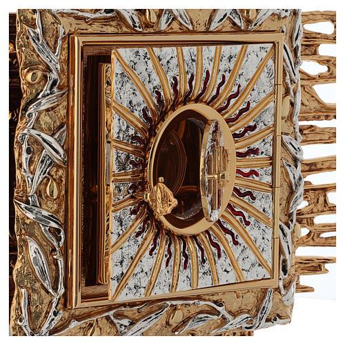 Tabernacolo da parete ottone fuso oro argento JHS 8