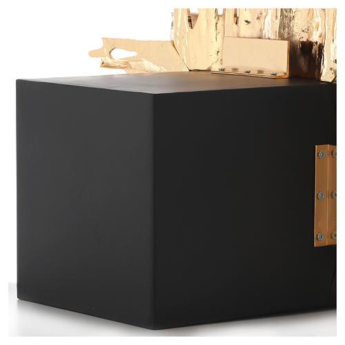 Tabernacolo da parete ottone fuso oro argento JHS 9