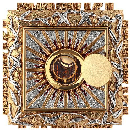 Wall tabernacle bicolor brass, JHS symbol 4