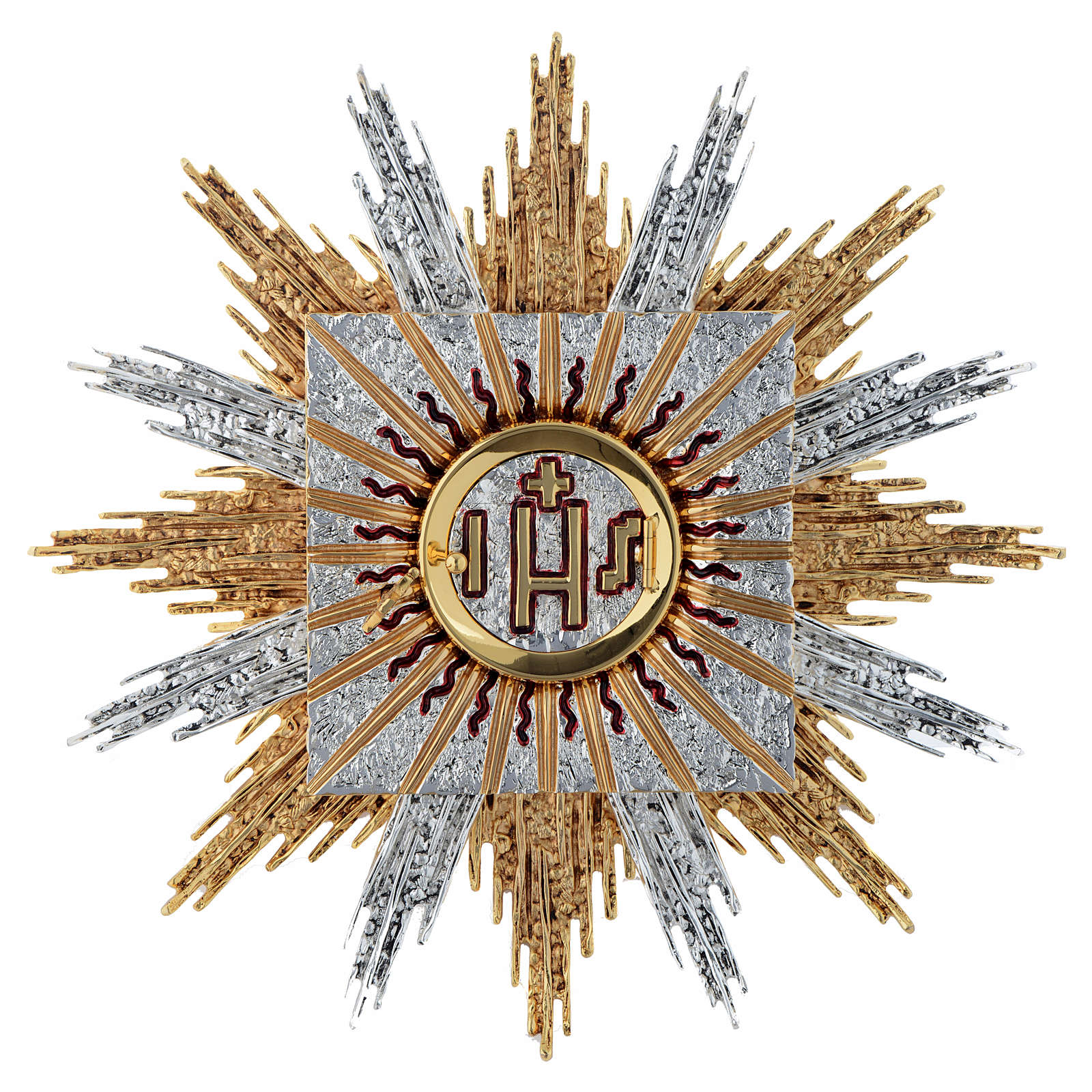 Wall tabernacle bicolor brass, JHS & rays 4