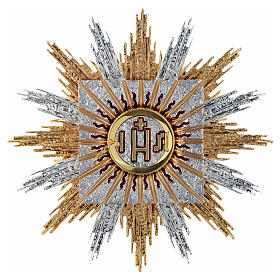 Wall tabernacle bicolor brass, JHS & rays s1