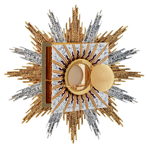 Wall tabernacle bicolor brass, JHS & rays 2