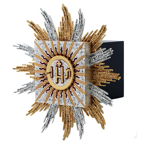 Wall tabernacle bicolor brass, JHS & rays 3