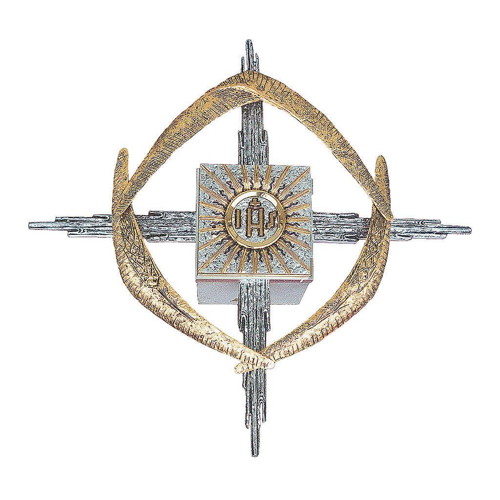 Tabernacolo da parete ottone argento oro JHS spighe 4