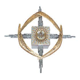Tabernacolo da parete ottone argento oro JHS spighe s2