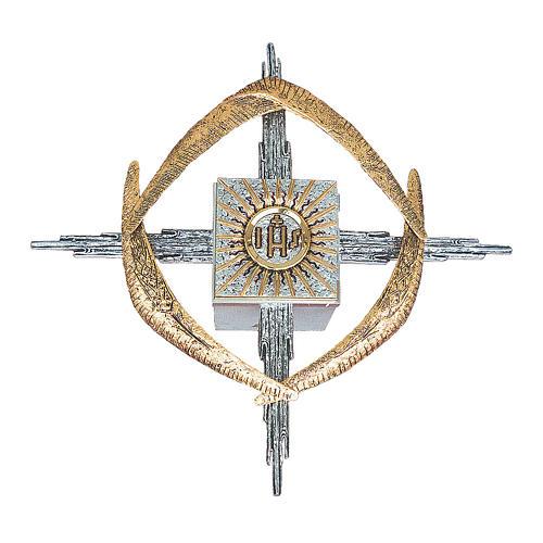 Tabernacolo da parete ottone argento oro JHS spighe 1