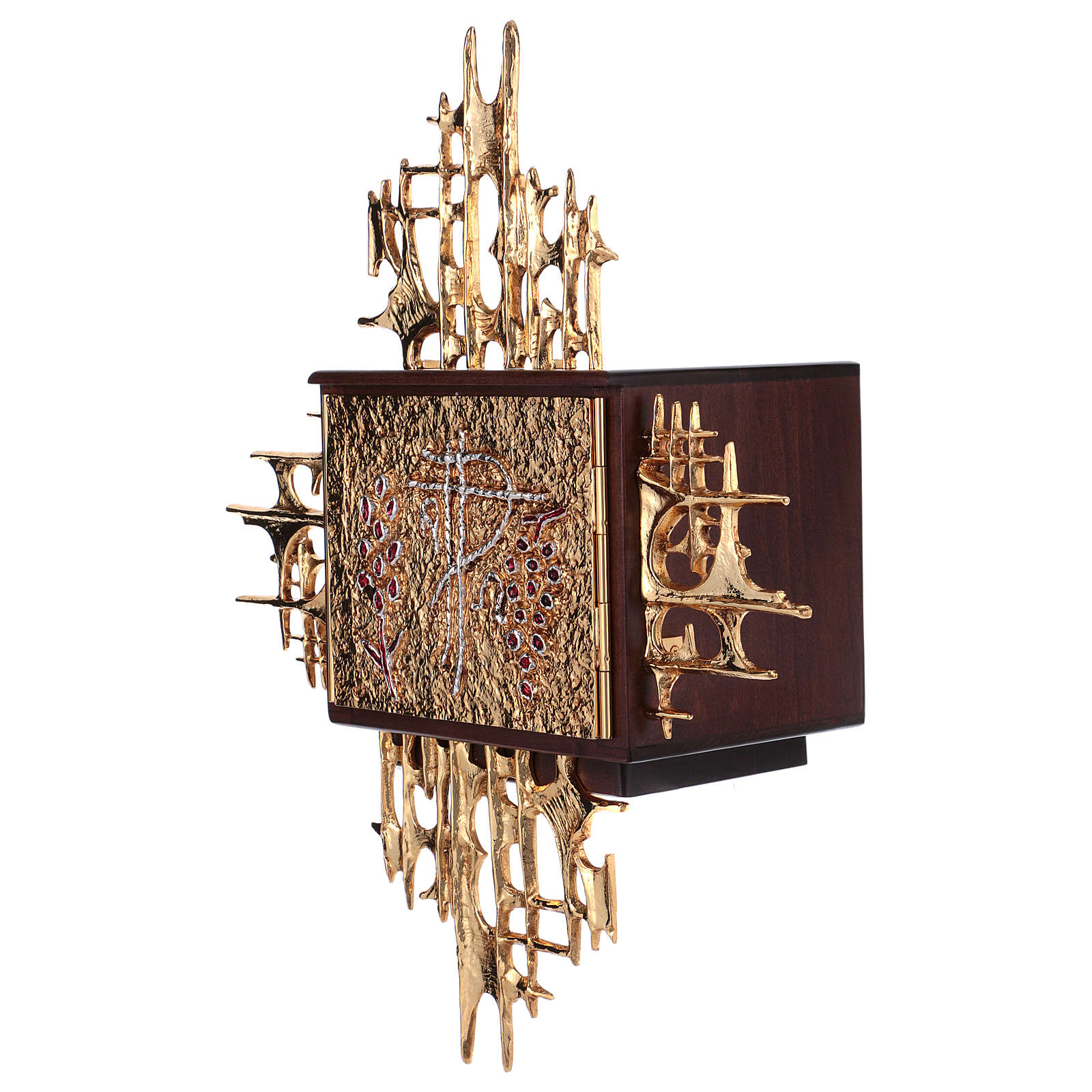 Wall tabernacle, wood & gold/silver-plated brass door 4