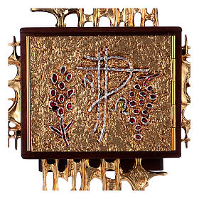Wall tabernacle, wood & gold/silver-plated brass door s2