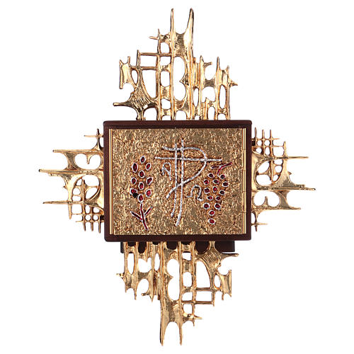 Wall tabernacle, wood & gold/silver-plated brass door 1