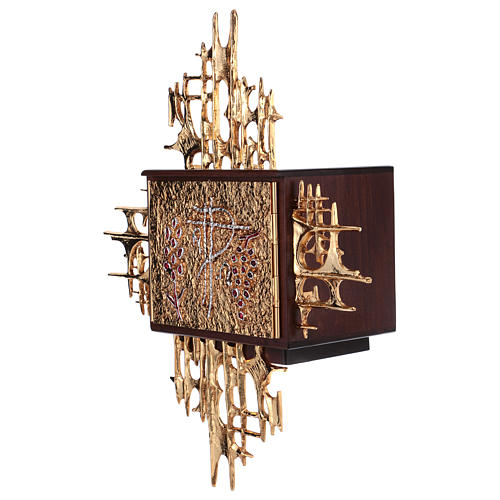 Wall tabernacle, wood & gold/silver-plated brass door 3