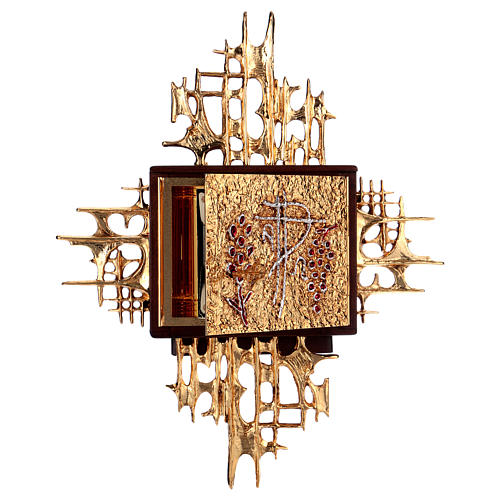 Wall tabernacle, wood & gold/silver-plated brass door 6