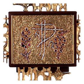Tabernacolo a muro legno porticina ottone oro argento s2