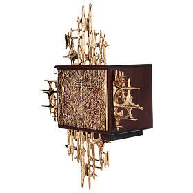 Tabernacolo a muro legno porticina ottone oro argento s3