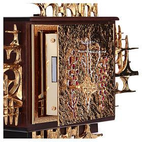 Tabernacolo a muro legno porticina ottone oro argento s4