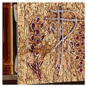 Tabernacolo a muro legno porticina ottone oro argento s7