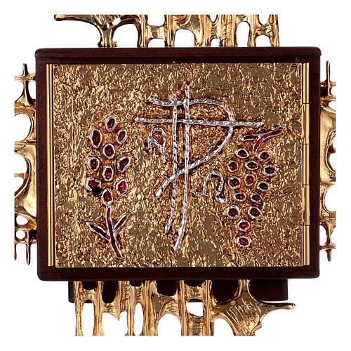 Tabernacolo a muro legno porticina ottone oro argento 2