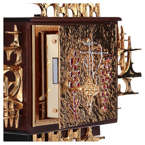 Tabernacolo a muro legno porticina ottone oro argento 4