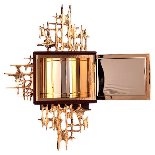Tabernacolo a muro legno porticina ottone oro argento 5
