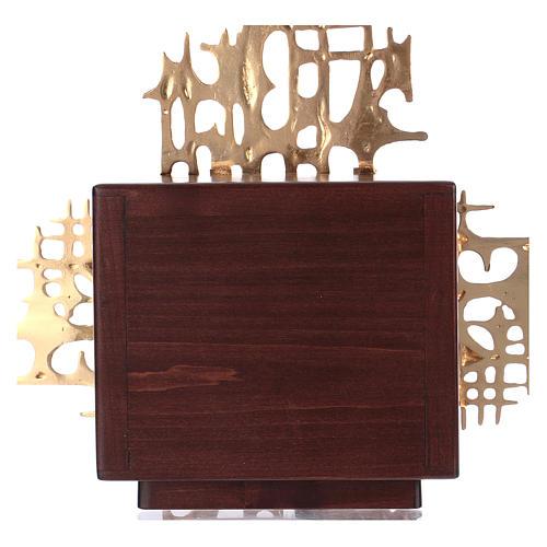 Tabernacolo a muro legno porticina ottone oro argento 8