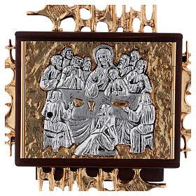 Sagrario de pared madera y latón oro y plata Última Cena s2