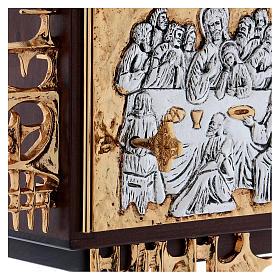 Sagrario de pared madera y latón oro y plata Última Cena s5
