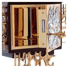 Sagrario de pared madera y latón oro y plata Última Cena s6