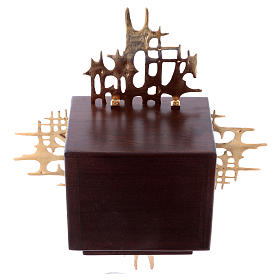 Sagrario de pared madera y latón oro y plata Última Cena s8