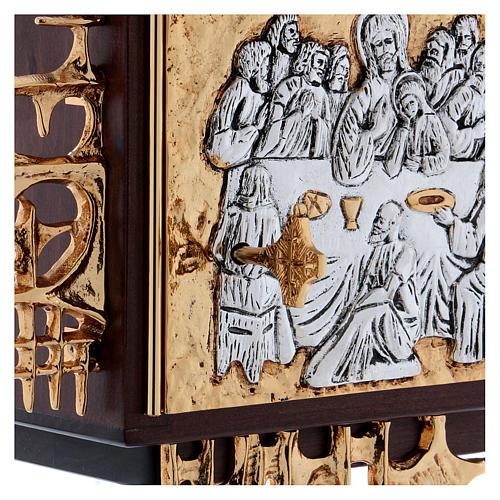 Sagrario de pared madera y latón oro y plata Última Cena 5