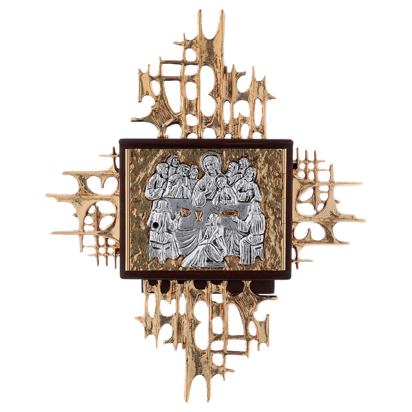 tabernacle à accrocher bois et laiton argent or cène   vente en