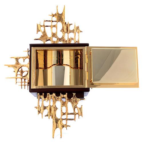Tabernacolo a muro legno e ottone oro argento Ultima Cena 7
