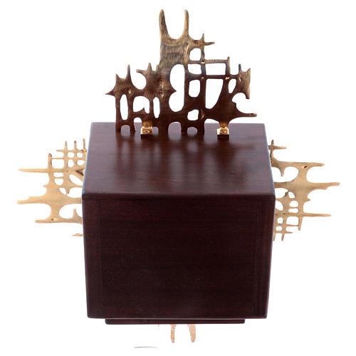 Tabernacolo a muro legno e ottone oro argento Ultima Cena 8