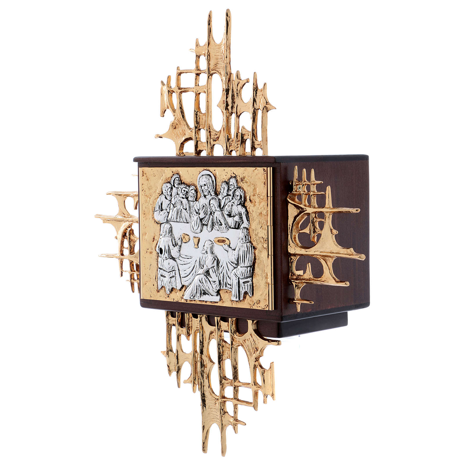 Wall tabernacle in wood & gold and silver-plated brass, Last Supper 4