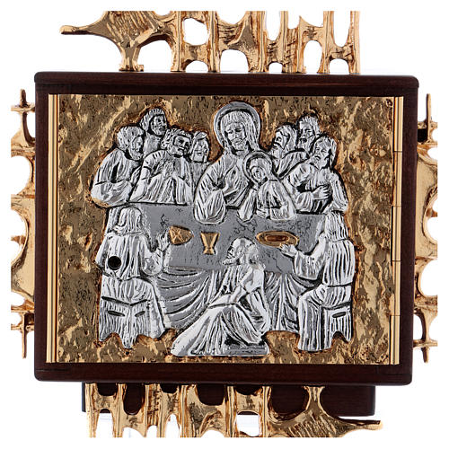Wall tabernacle in wood & gold and silver-plated brass, Last Supper 2