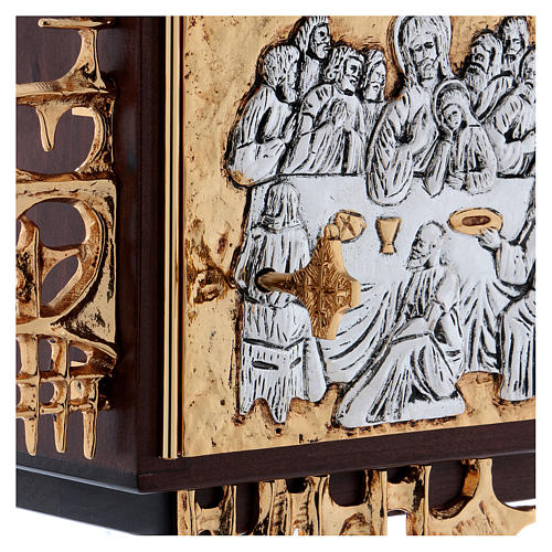 Wall tabernacle in wood & gold and silver-plated brass, Last Supper 5