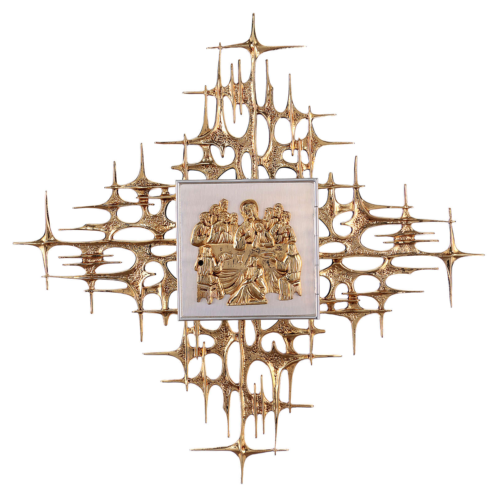 Wall tabernacle in brass with last supper 4