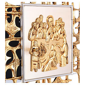 Wall tabernacle in brass with last supper s3