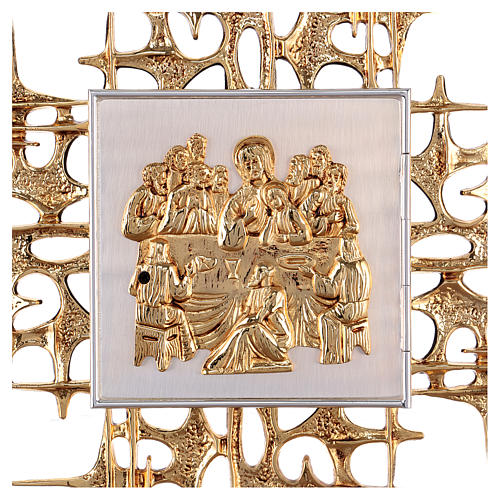 Wall tabernacle in brass with last supper 2