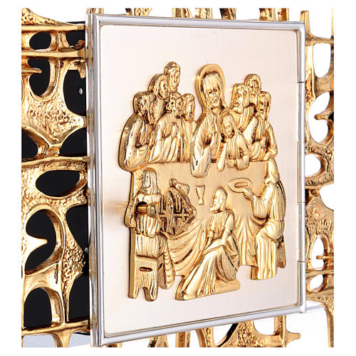 Wall tabernacle in brass with last supper 3
