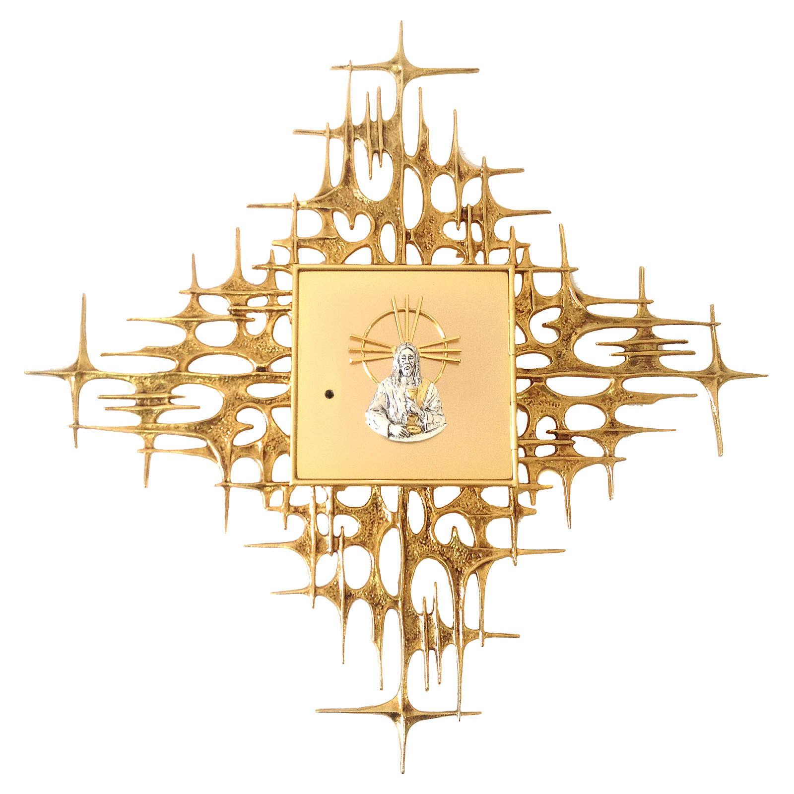 Tabernacolo da parete ottone fuso dorato Gesù 4