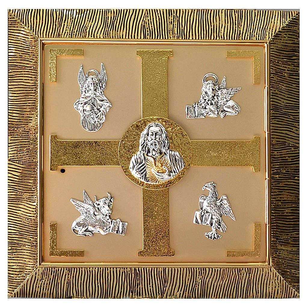 Tabernacolo parete Evangelisti ottone dorato 4