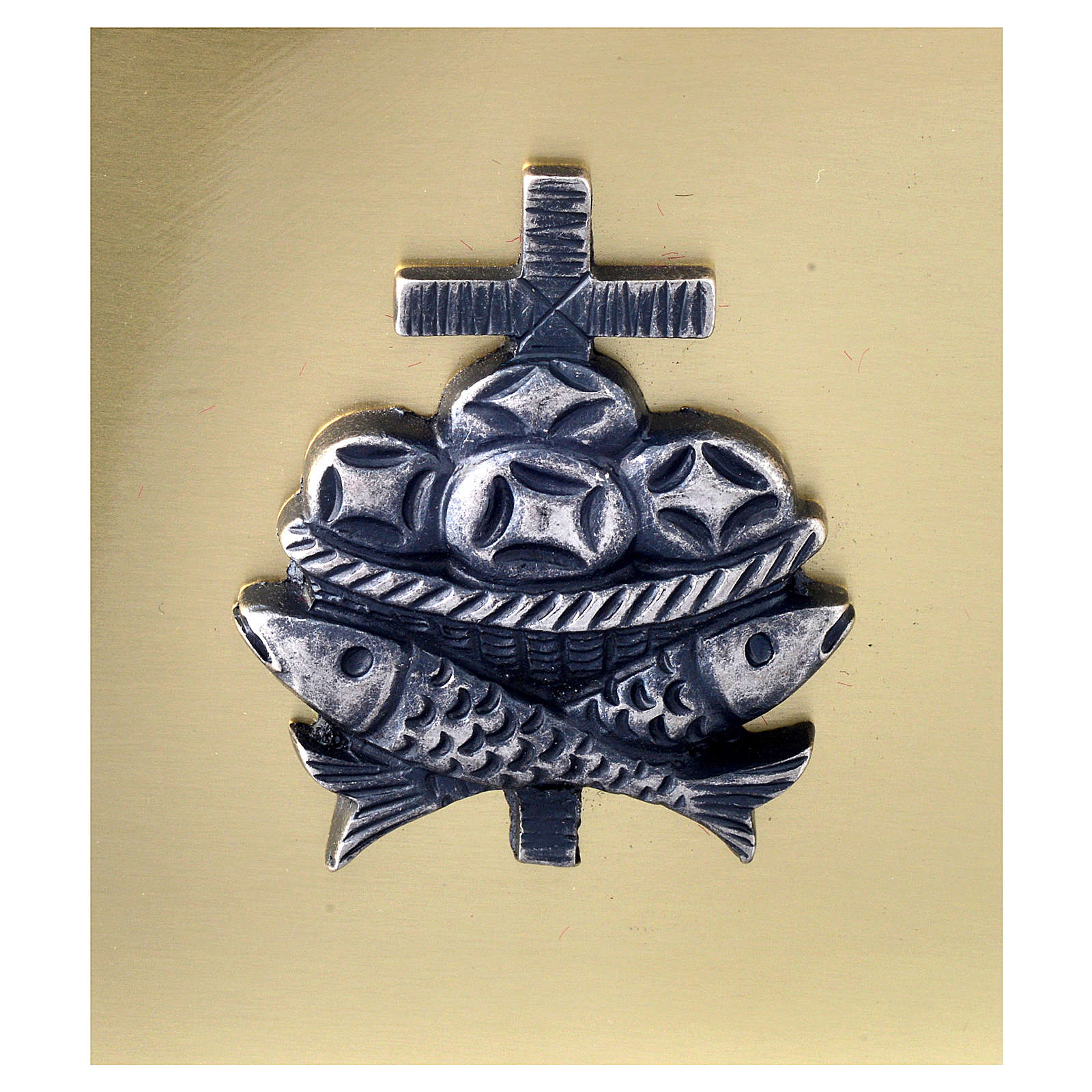 Scatola chiavi tabernacolo in ottone pesci pani croce Molina 4