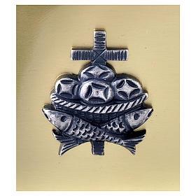 Scatola chiavi tabernacolo in ottone pesci pani croce Molina s2