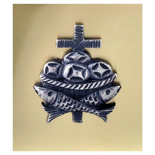 Scatola chiavi tabernacolo in ottone pesci pani croce Molina 2