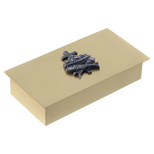Scatola chiavi tabernacolo in ottone pesci pani croce Molina 3