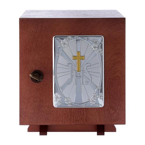 Tabernacolo in legno e placca allumino Croce IHS JHS 20X20 cm 1