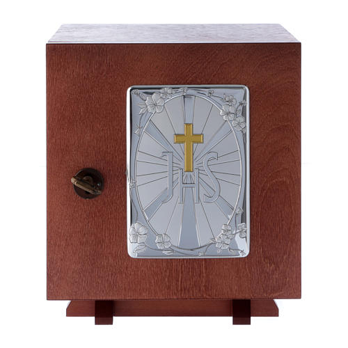 Tabernacle in wood with aluminium plate JHS 20X20 cm 1