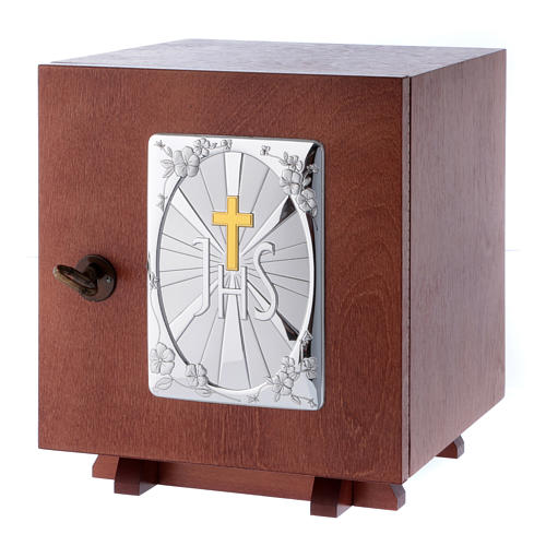 Tabernacle in wood with aluminium plate JHS 20X20 cm 2