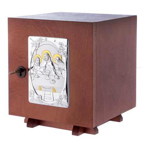 Tabernakulum z drewna i płytka z aluminium Ostatania Wieczerza 20x20 cm 2